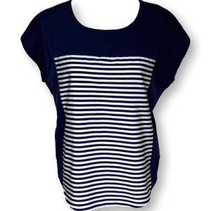 Antilia Femme Navy Striped Casual Shell